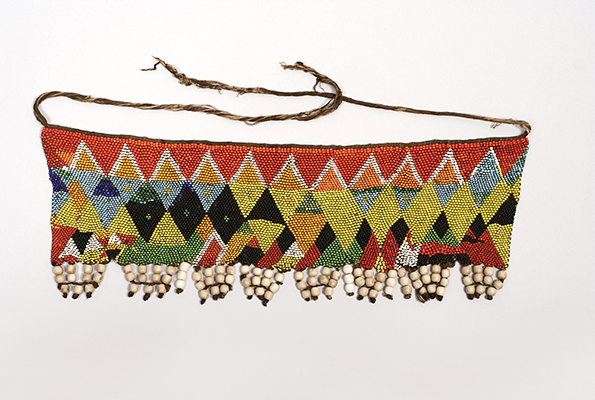 beaded apron with bright colors and geometric patters