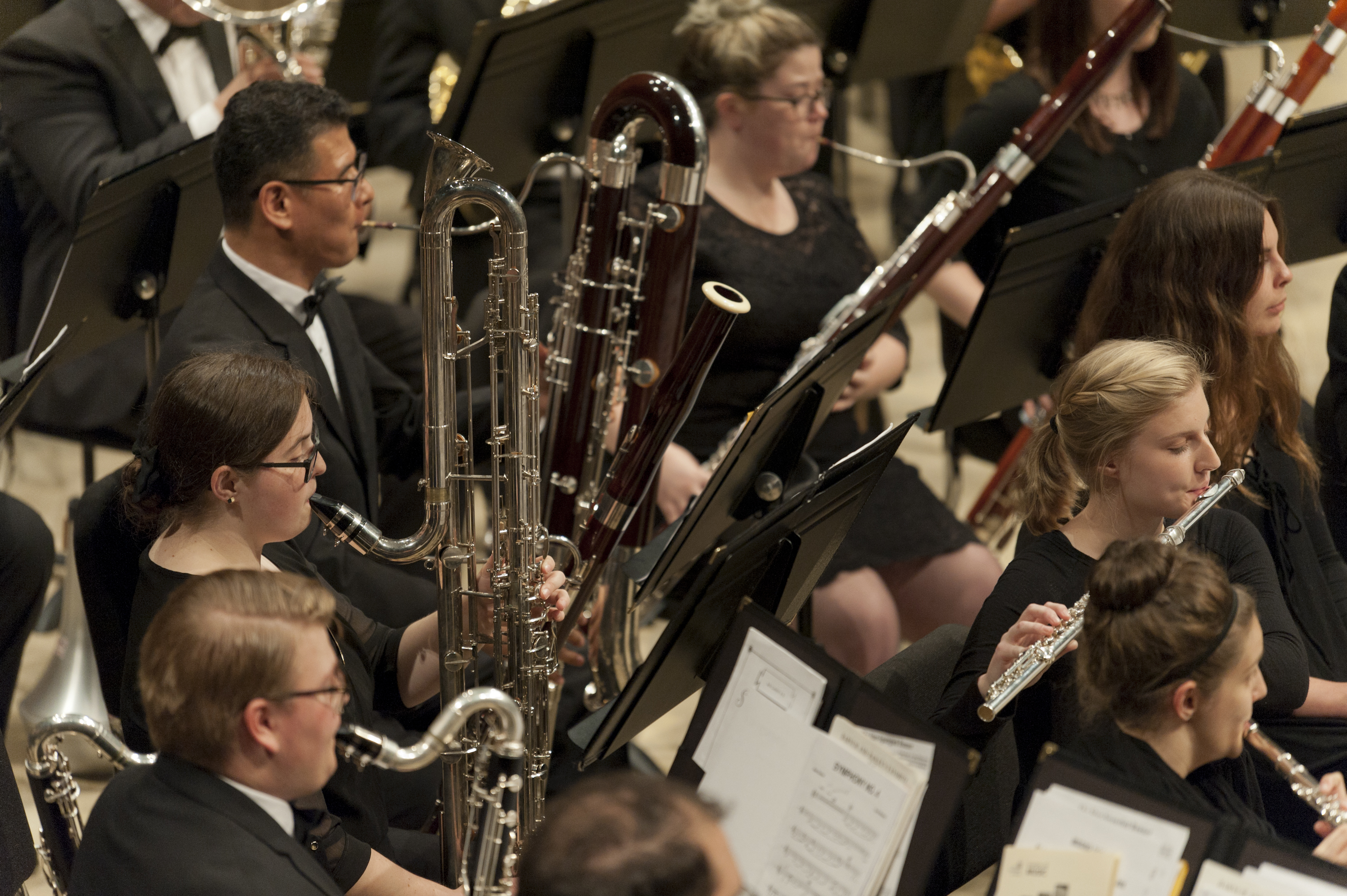 woodwind section in a band concert