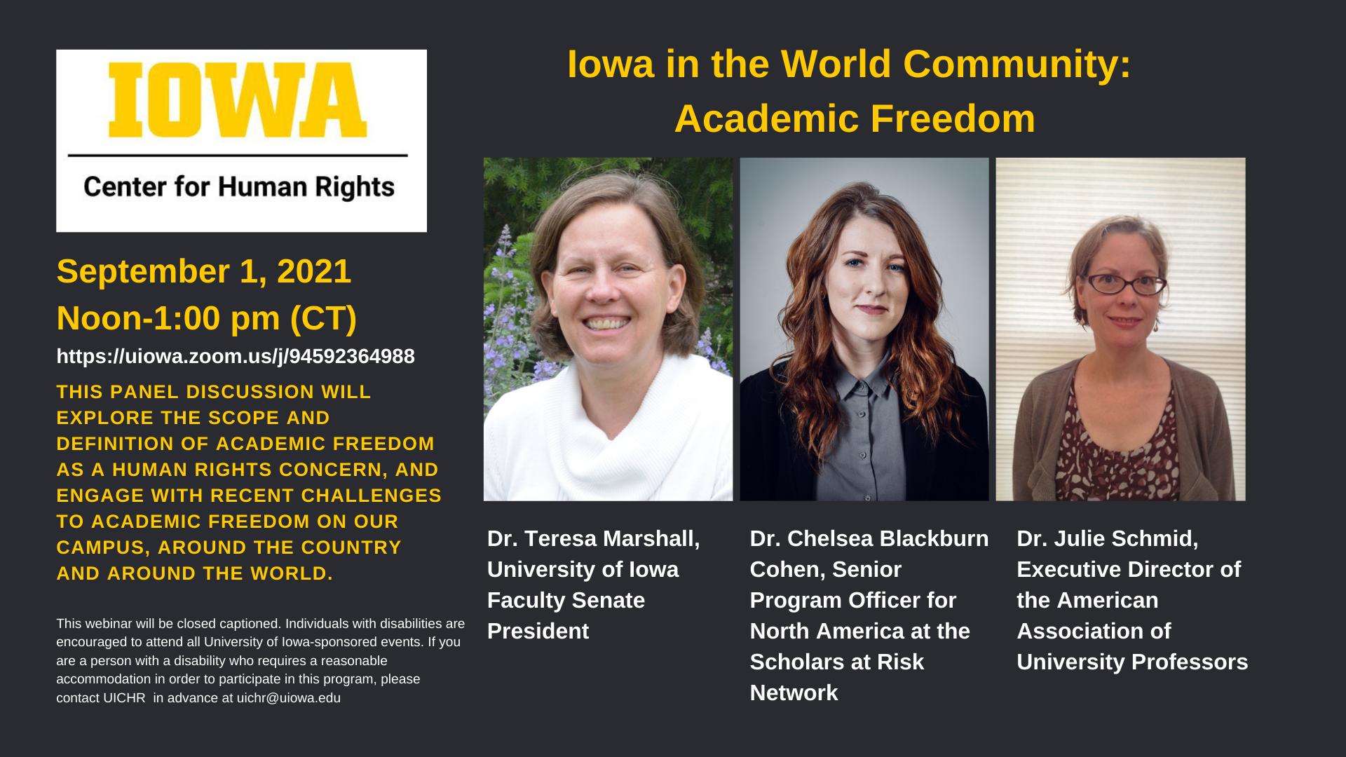 academic freedom panelists pictures