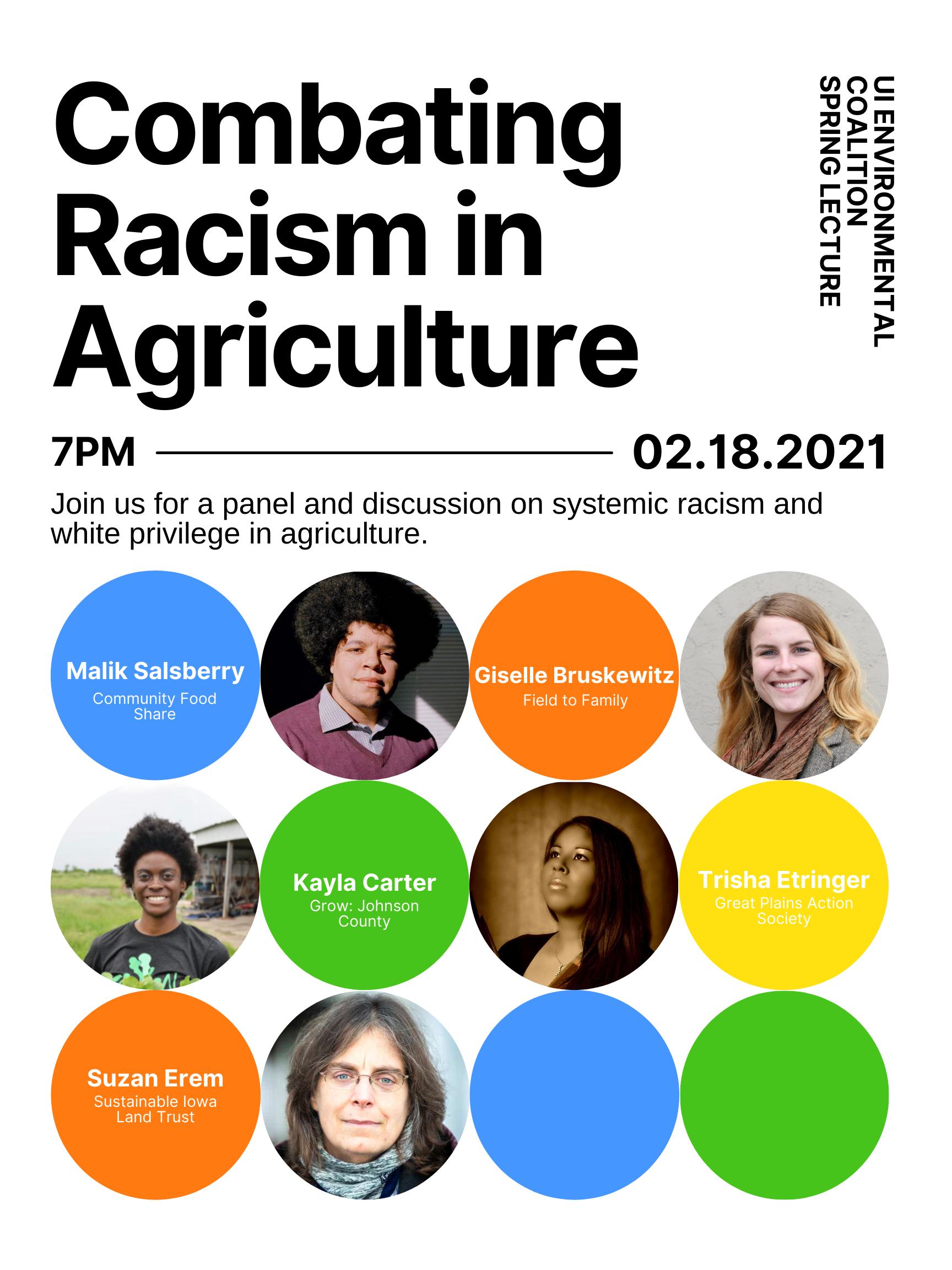 Combating Racism in Agriculture Poster. Pictures of lecturers: Malik Salsberry, Giselle Bruskewitz, Kayla Carter, Trisha Etringer, Suzan Erem