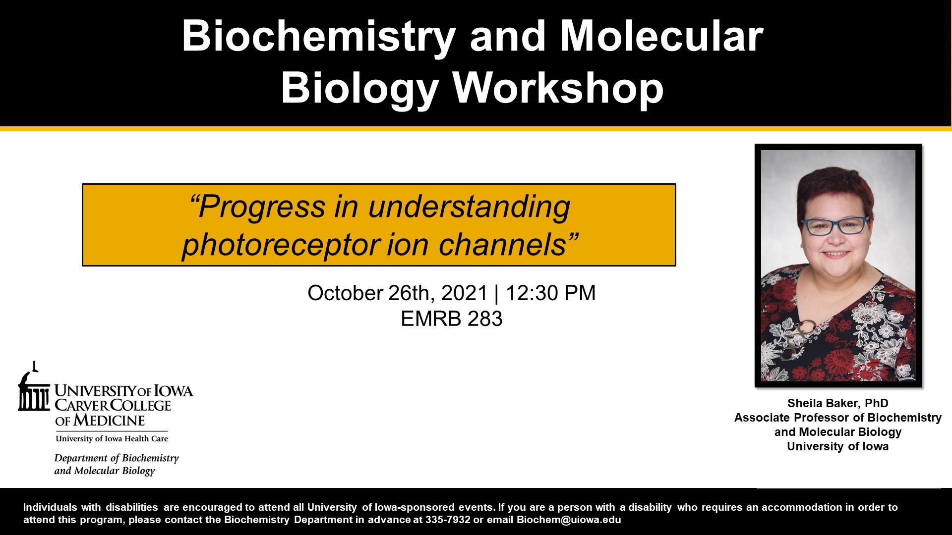Biochemistry Workshop: Sheila Baker promotional image