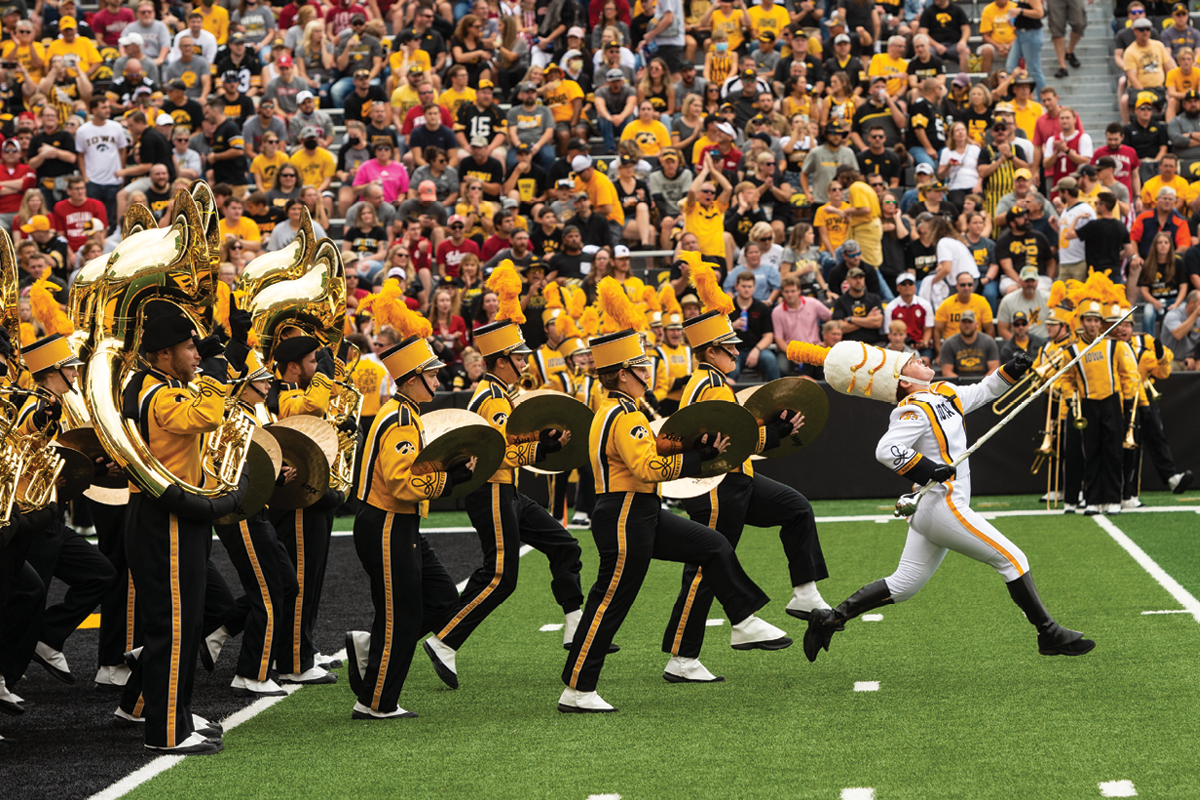 Photo of band on the football field