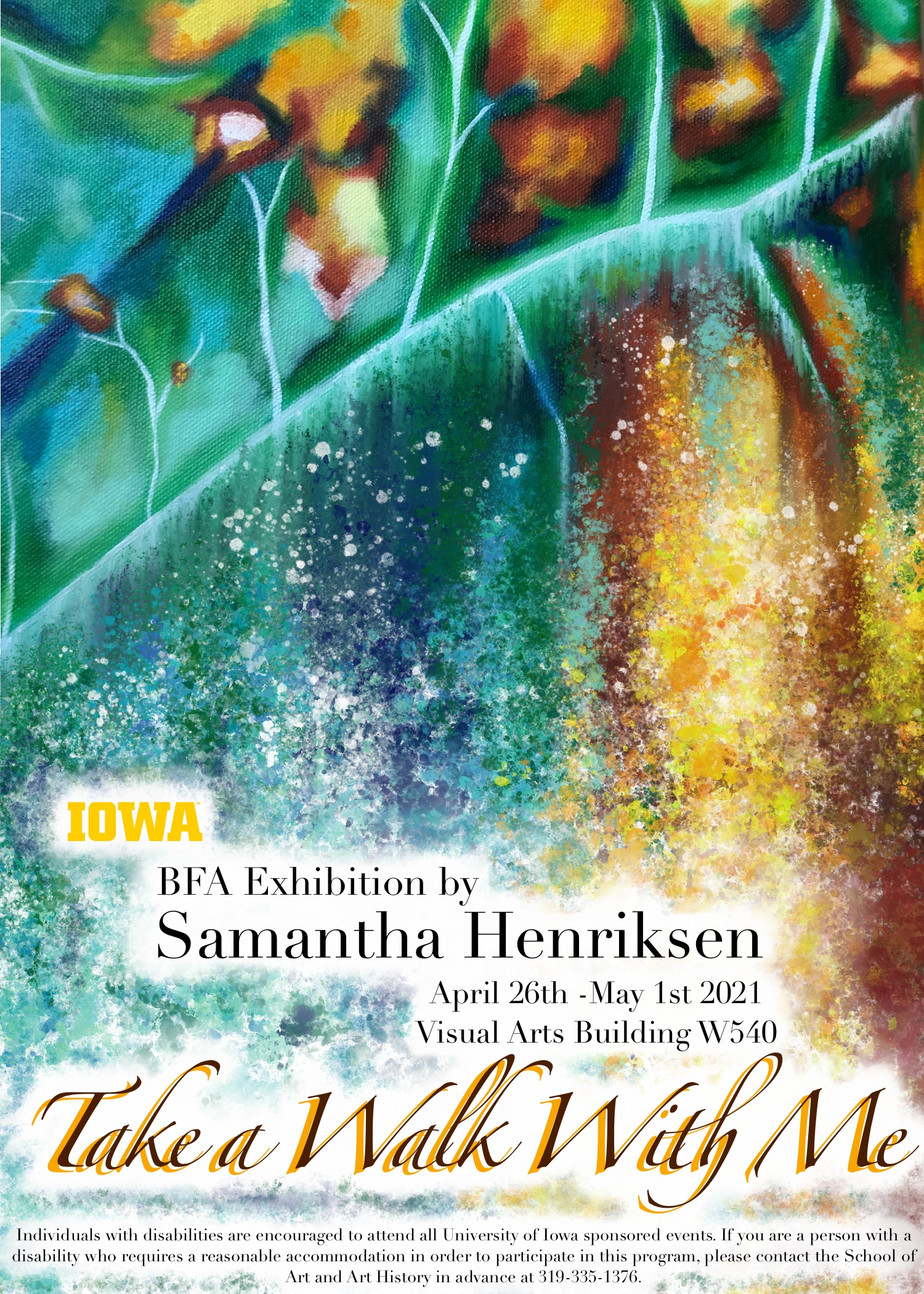 greens, golds, blue colors show card Samantha Henriksen, Take a Walk With Me