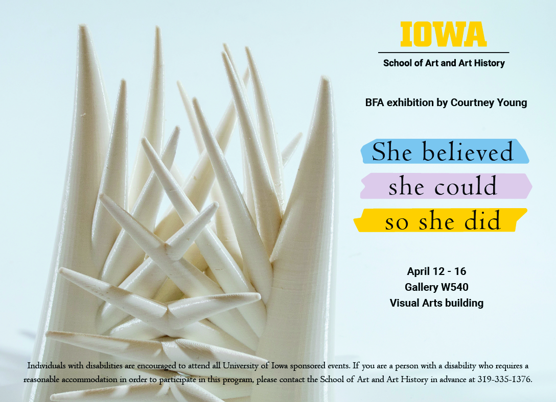 white spike pice of art, BFA showcard for Courtney Young