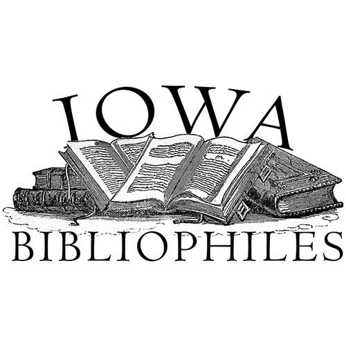 Iowa Bibliophile logo of open book