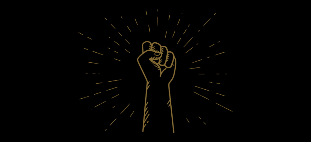Black background with Gold outline of a closed fist.