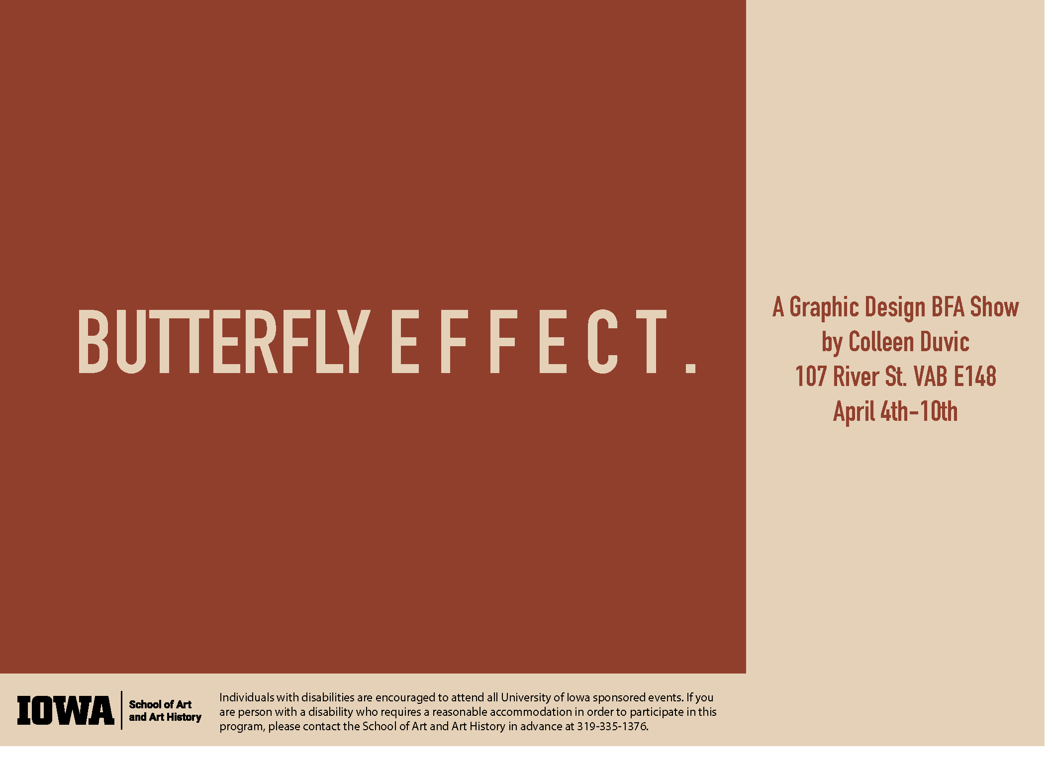 cream and rust color background, show card Butterfly Effect. by Colleen
