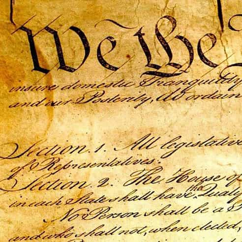 """Close up of """"We the People..."""" on the original US Constitution"""