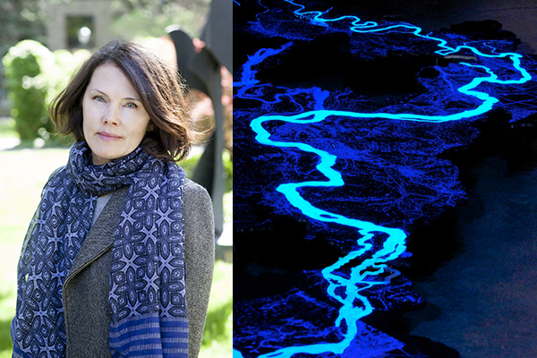 Portrait of woman with brown hair and a long purple neck scarf. Second image of a blue, neon river flowing downward