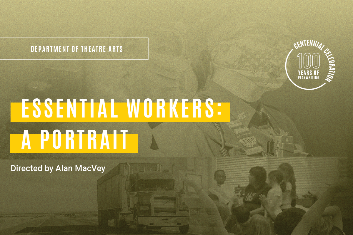 Essential Workers: A Portrait. Photo collage of farmer, doctor, police officer, teacher, and truck driver.