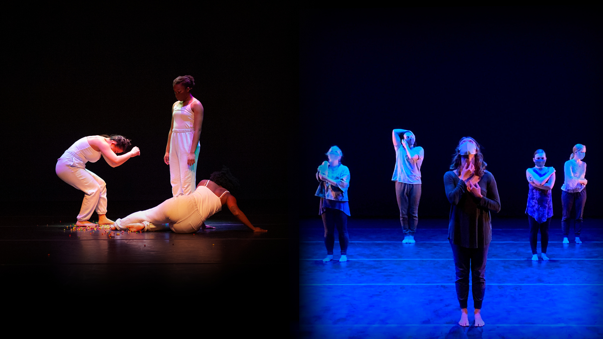 Two photos of groups of dancers in performance.