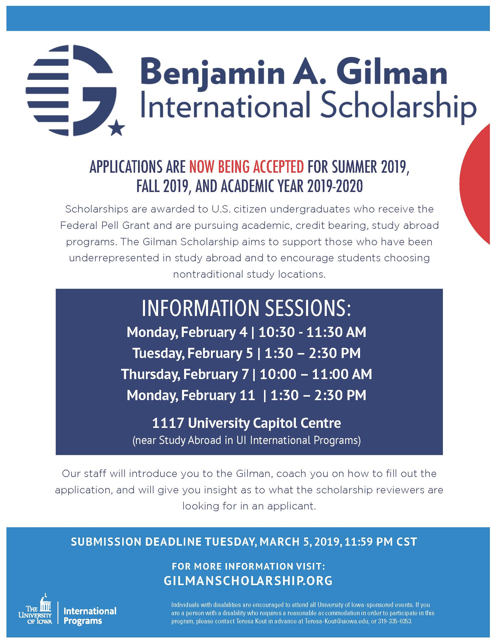 Gilman Scholarship Info Session Poster