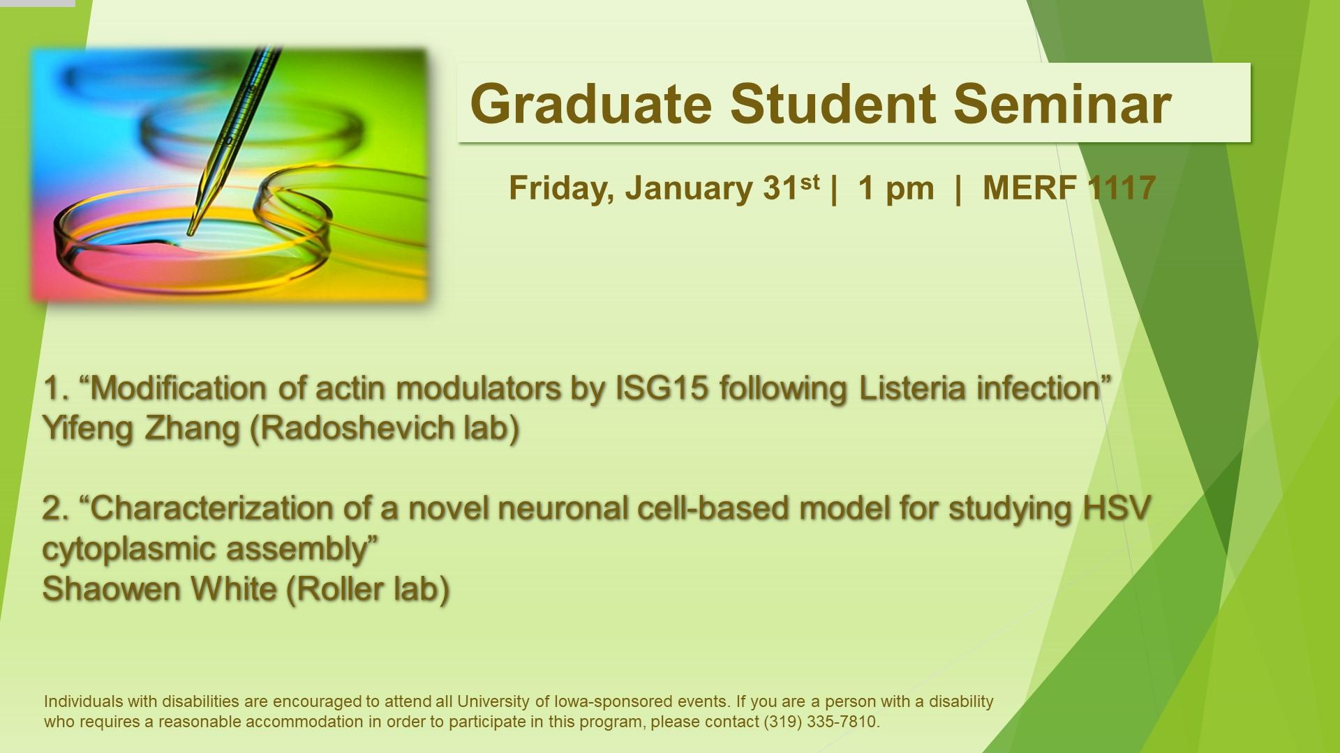 Graduate Student Seminars - Zhang and White