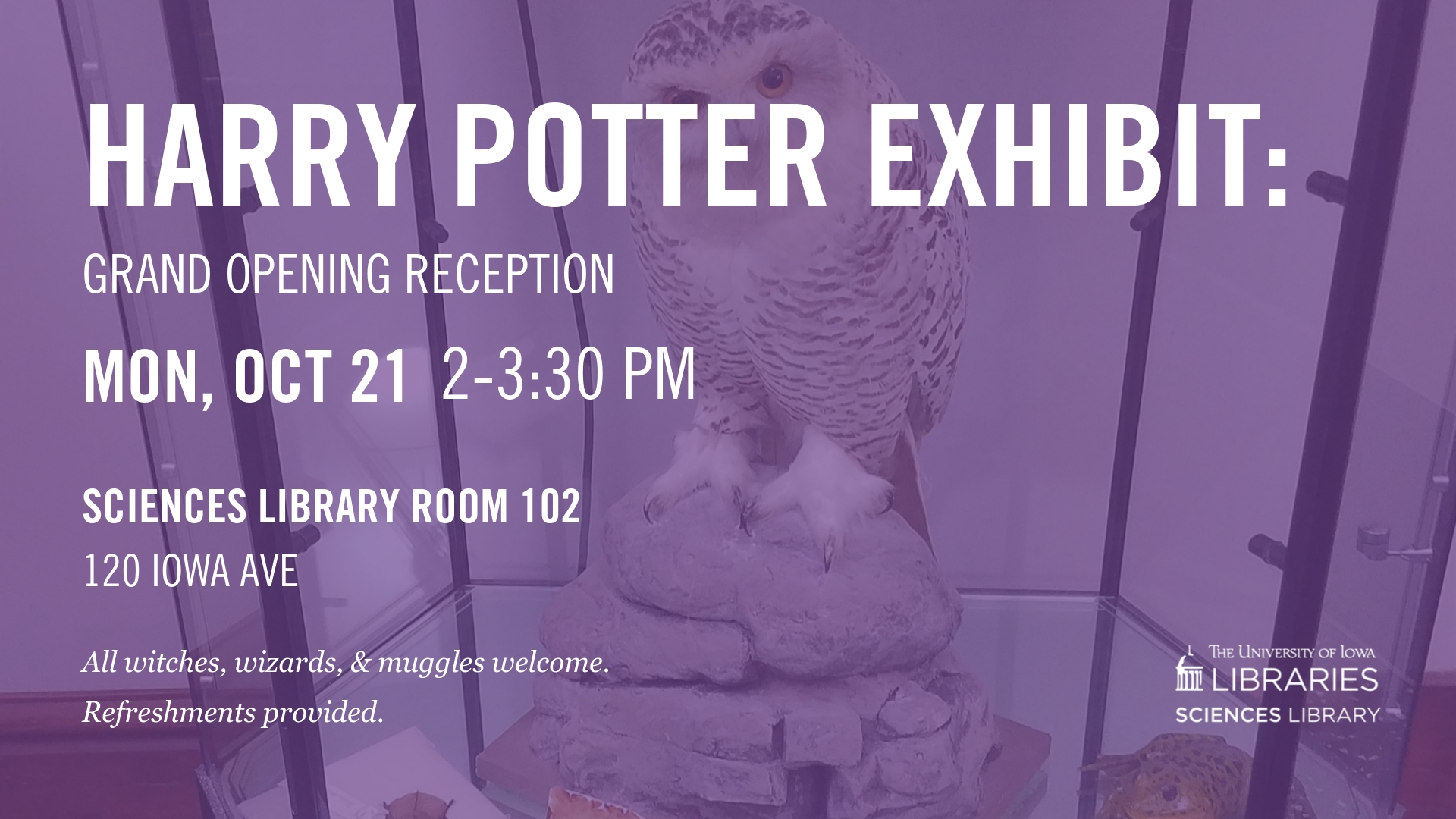 Harry Potter Exhibit: Opening Reception. Mon October 21 from 2 to 3:30. Sciences Library room 102.