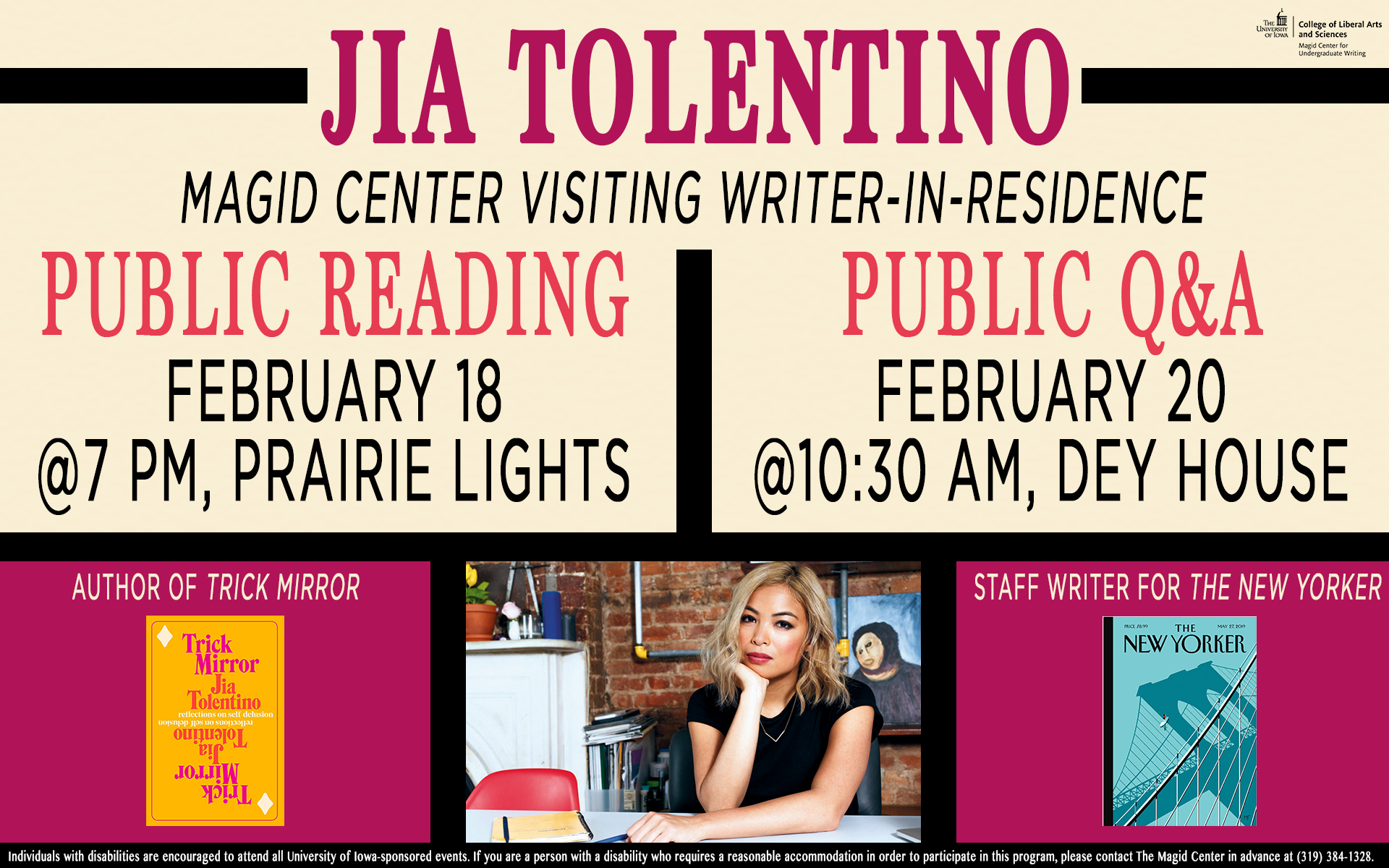 Flyer for the Jia Tolentino Q & A