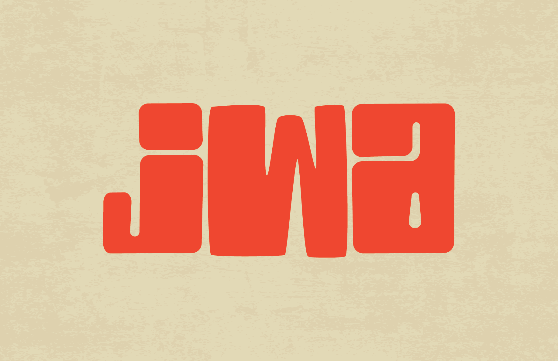 beige background orange letters JWA