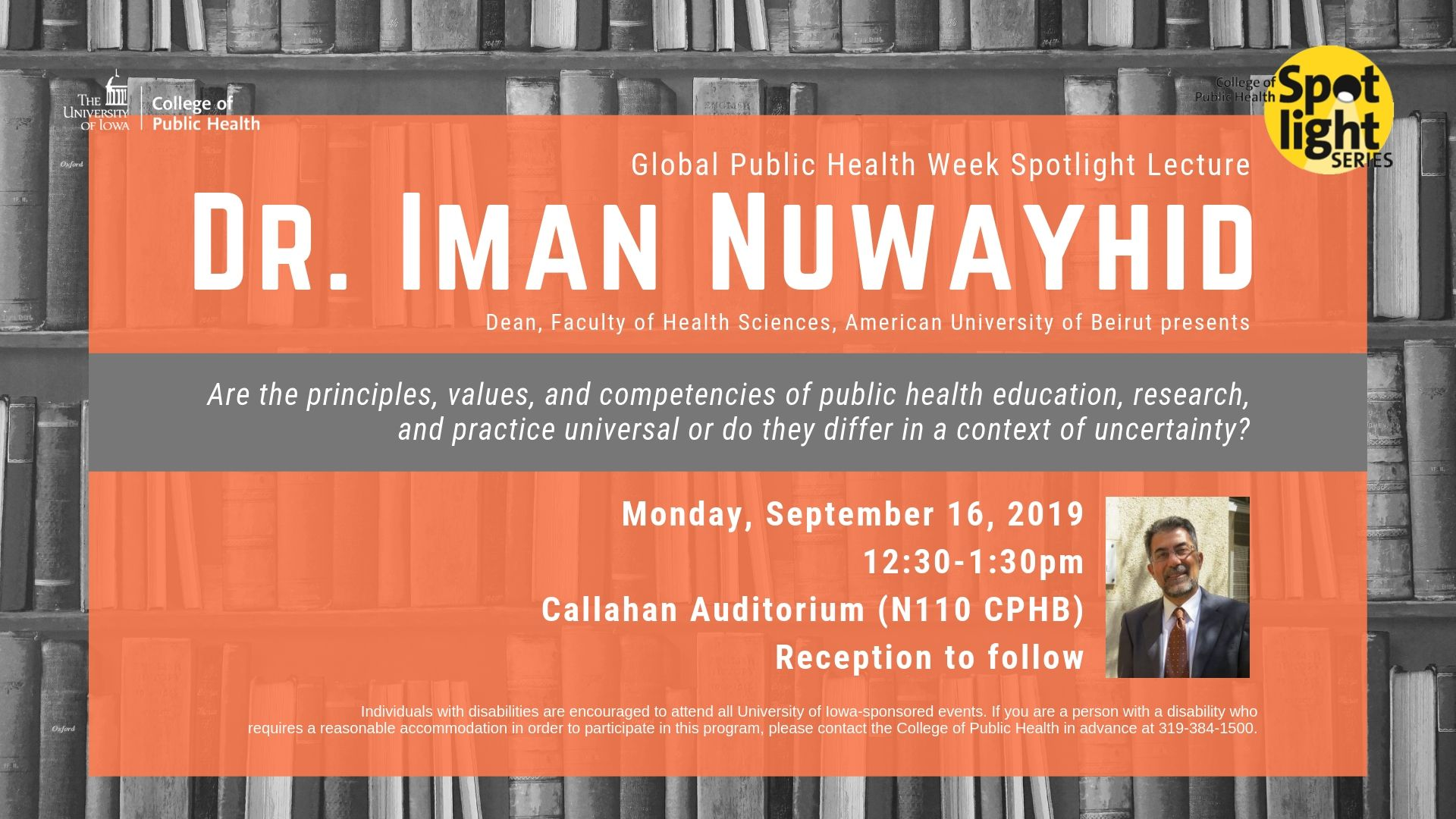 Global Public Health Week Spotlight Lecture Dr. Iman Nuwayhid