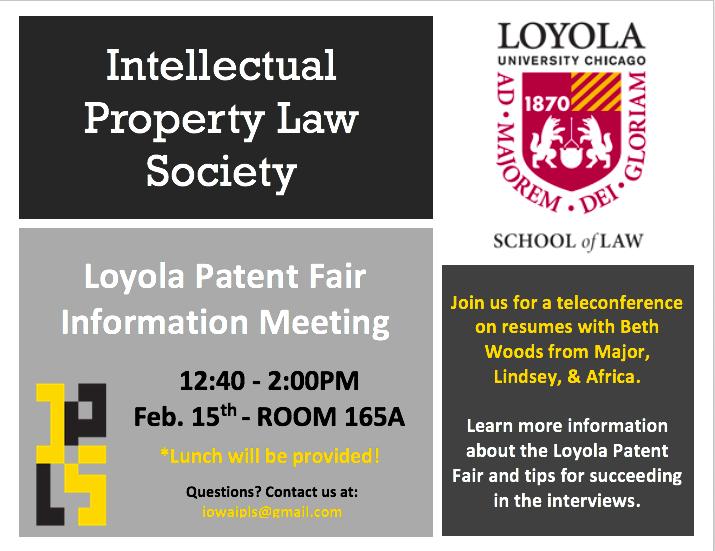 Loyola Calendar.Loyola Patent Fair Information Meeting