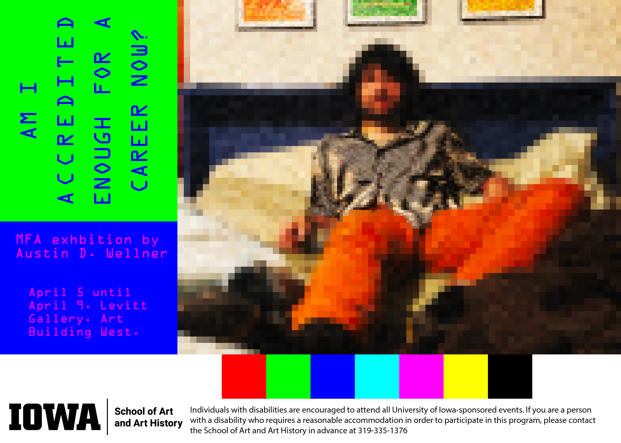 blocks of color - red green blue turquoise pink yellow black along bottom, pixelated person on bed with pictures on wall