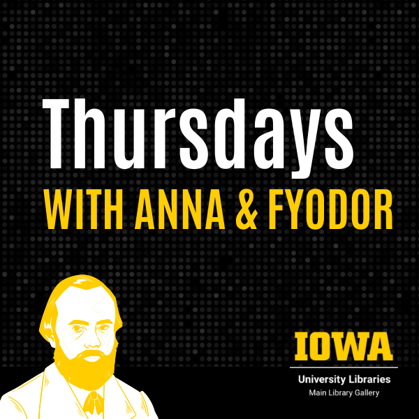The image says Thursdays with Anna and Fyodor. It features a stylized illustration of Dostoevsky.