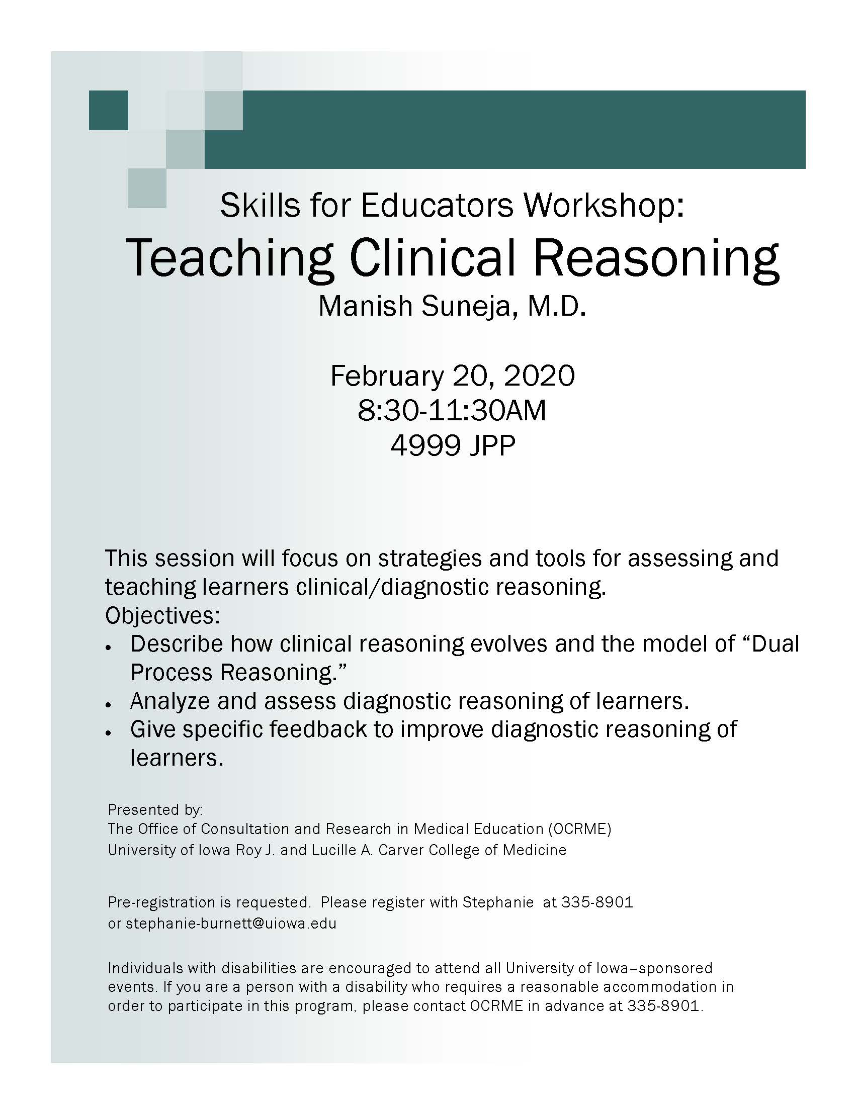 Skills for Educators Workshop: Teaching Clinical Reasoning promotional image