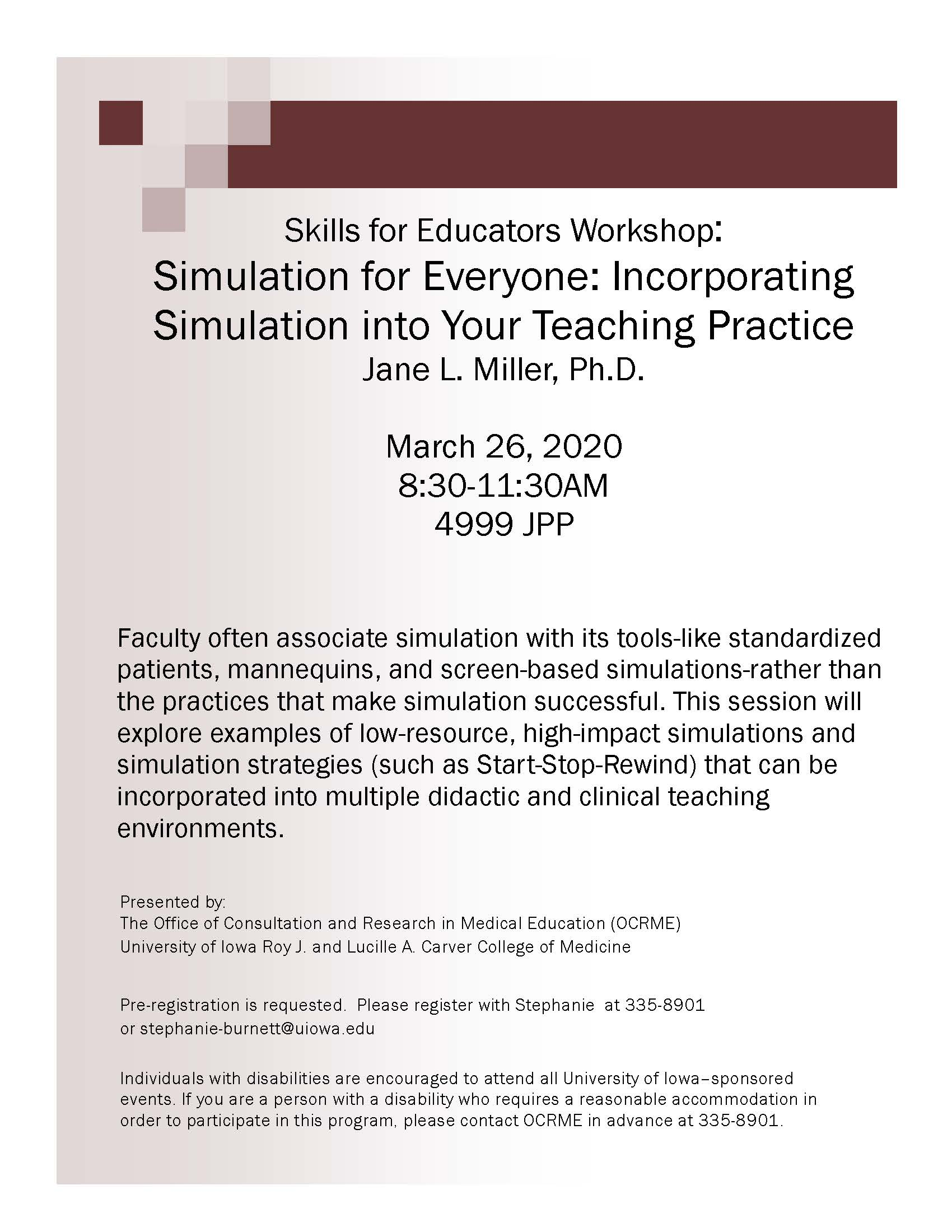 Skills for Educators Workshop: Simulation for Everyone Incorporating Simulation into Your Teaching Practice promotional image