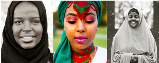 Portraits of three women in different forms of national or ethnic dress