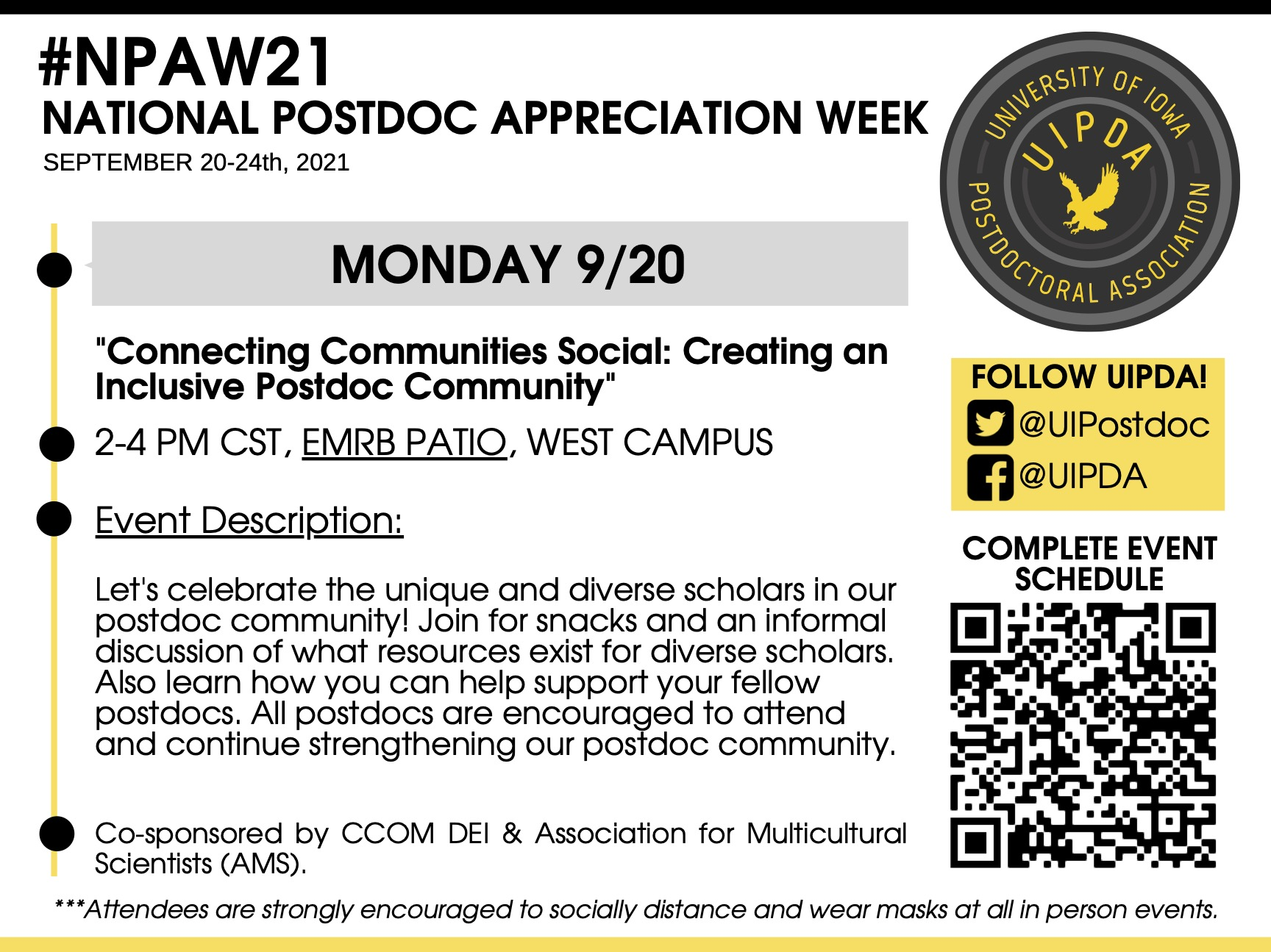National Postdoc Appreciation Week: Connecting Communities Social: Creating an Inclusive Postdoc Community promotional image