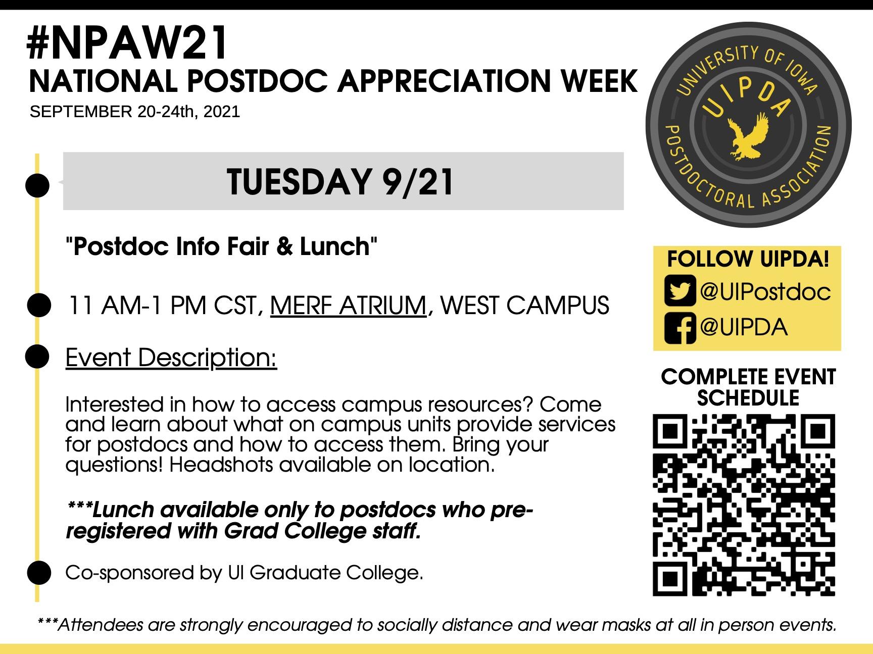 Tuesday 9/21: Postdoc Info Fair & Lunch