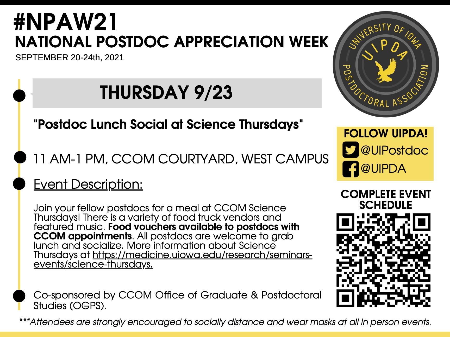 "National Postdoc Appreciation Week: ""Postdoc Lunch Social at Science Thursdays"" promotional image"