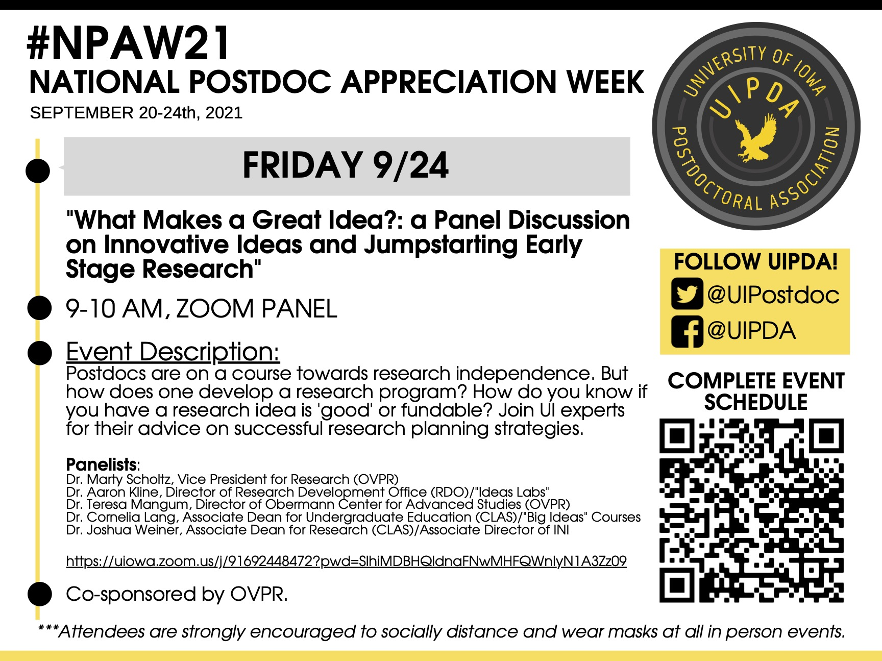 Friday 9/24: What Makes a Great Idea?: A Panel Discussion on Innovative Ideas in Research Programs