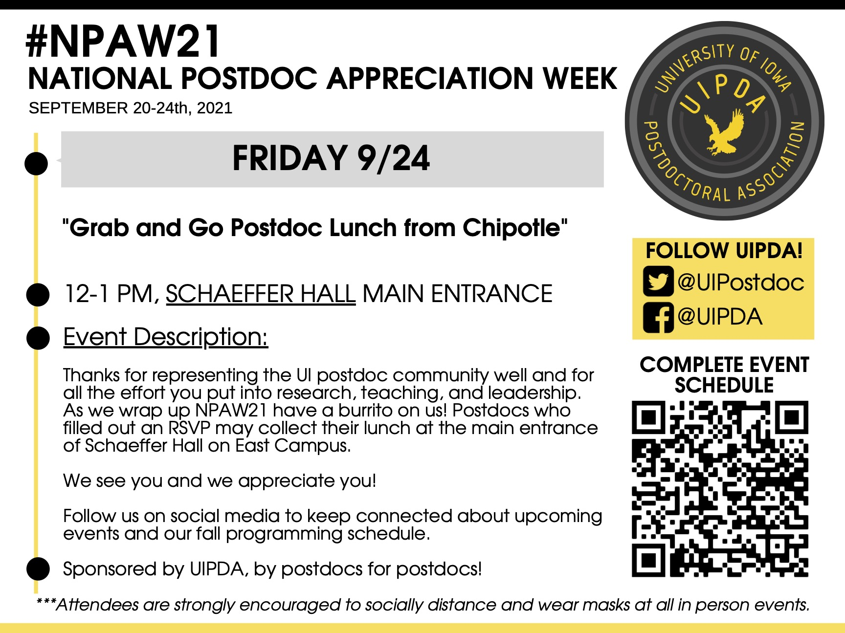 Friday 9/24: Grab and Go Postdoc Lunch from Chipotle
