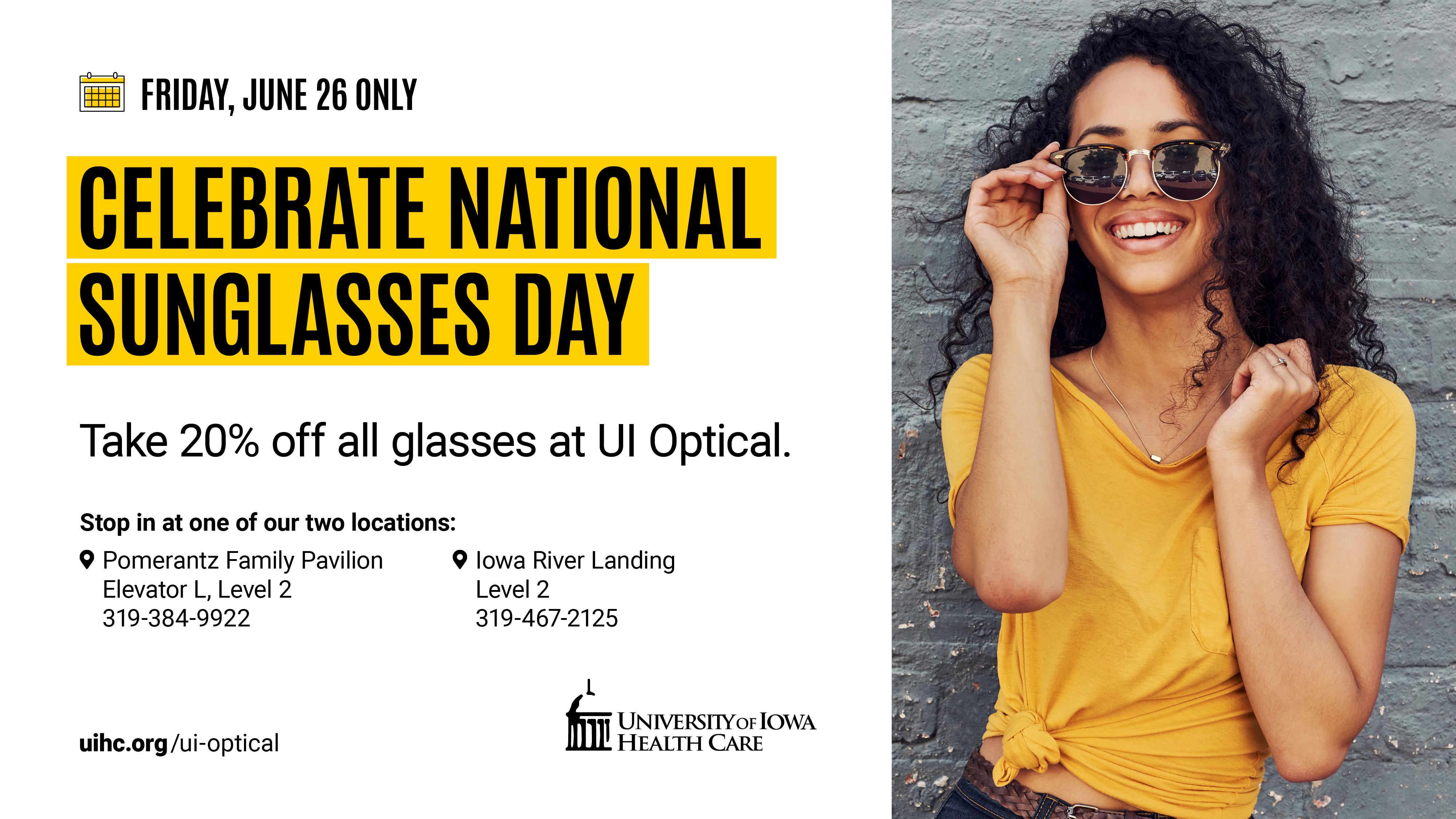 UI Optical 'National Sunglasses Day' Sale promotional image
