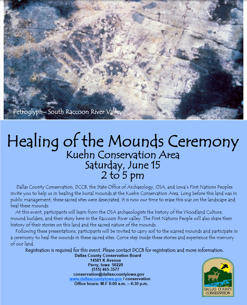 Event Poster for Healing of the Mounds Ceremony