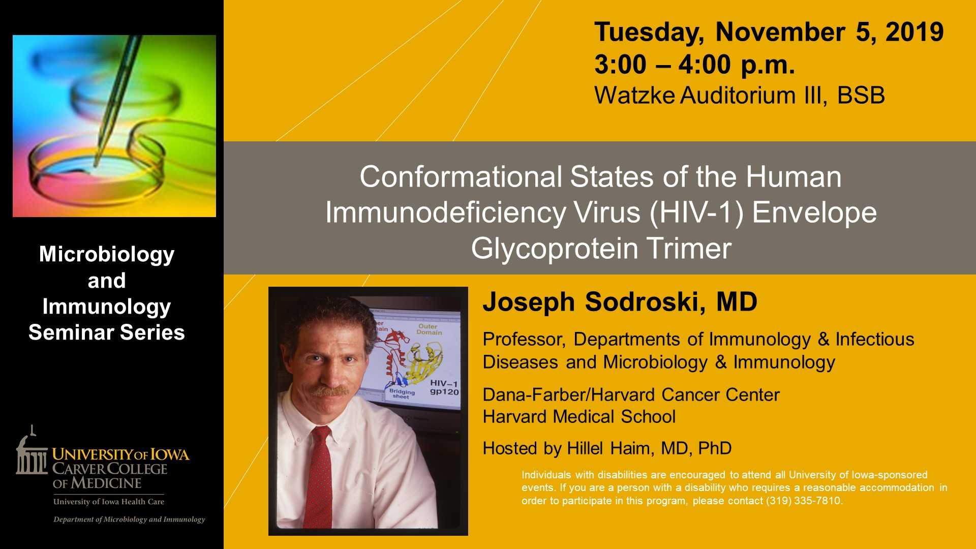 Microbiology and Immunology Seminar: Dr. Joseph Sodroski, MD promotional image