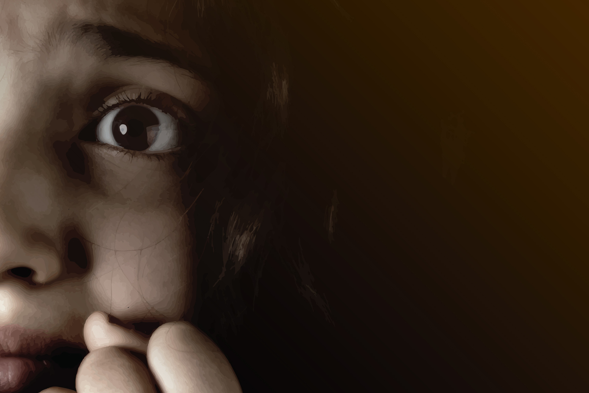Seven Spots On The Sun poster image. Frightened girl