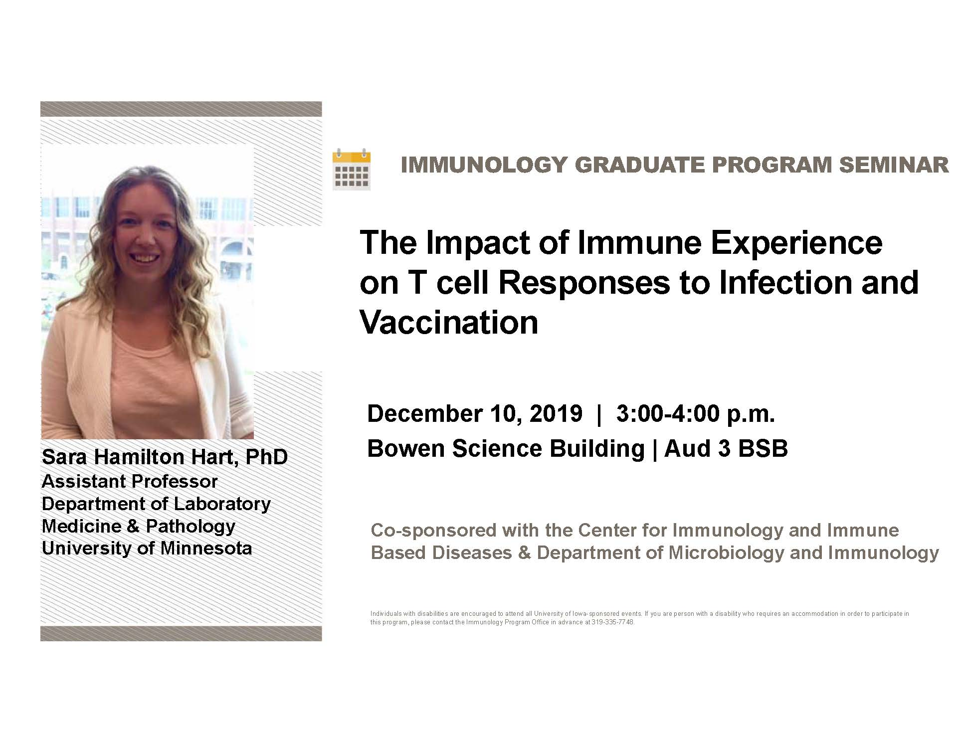 """Seminar Speaker - Sara Hamilton Hart, Ph.D. -  """"The Impact of Immune Experience on T cell Responses to Infection and Vaccination"""" promotional image"""