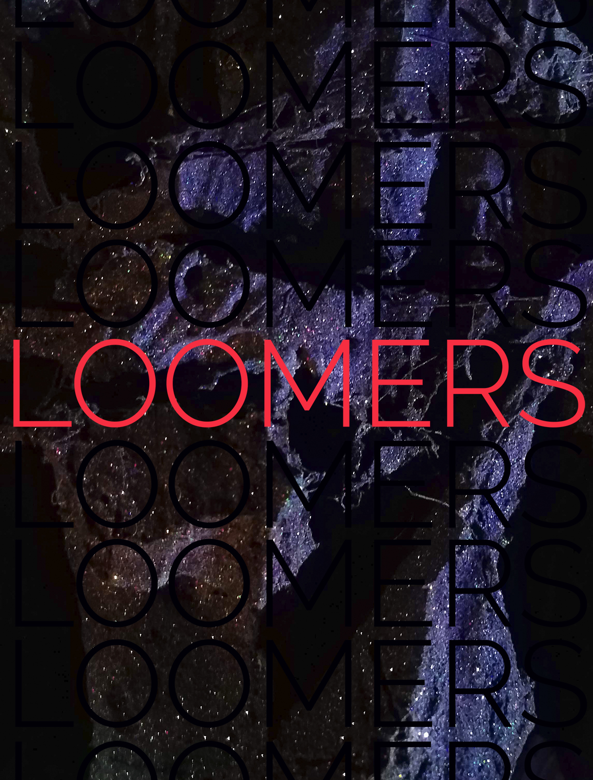 dark blacks and blues with the word loomers in black and one in Red