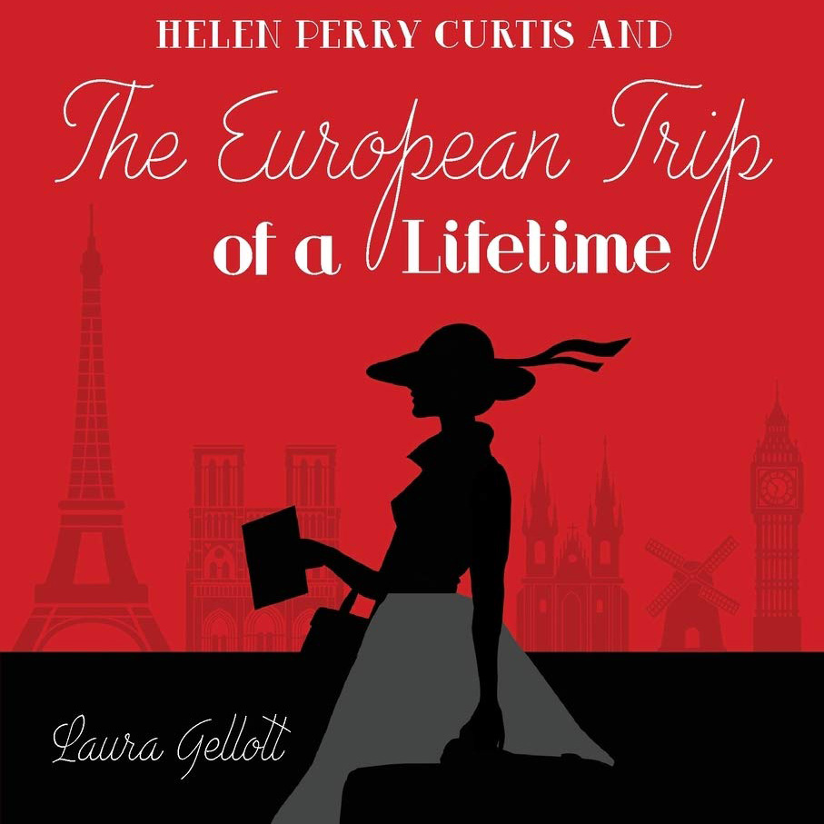 A book cover with a red background and a woman's silhouette in black. She holds a suitcase and walks past the silhouette of the Eiffel Tower. The title of the book is on the cover.