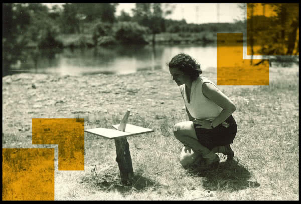 Student with a sun dial project by the river. University of Iowa, 1930s. The University of Iowa Department of Physical Education for Women Records, 1900-2006 – Iowa Women's Archives – University of Iowa Libraries