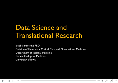 """First slide of Jacob Simmering's 9/3/21 talk """"Data Science and Translational Research"""