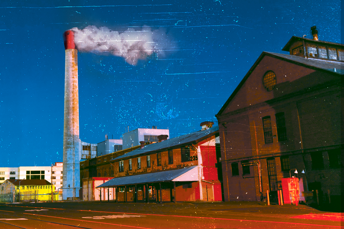 Sweat poster image. Factory with large smokestack.