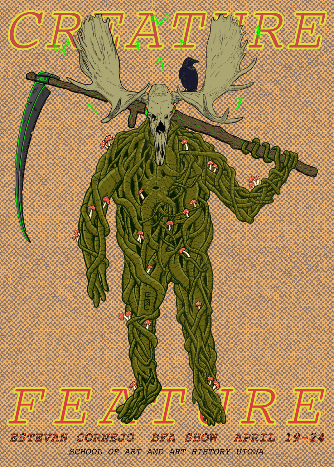 green creature with skull head and antlers, black crow on antler, green blade on pole arm holding over shoulder