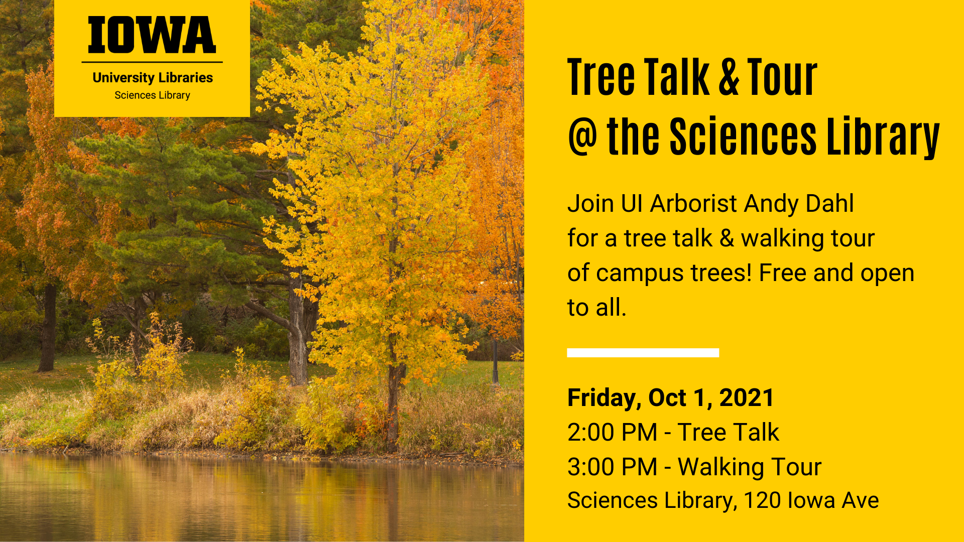 Join Arborist Andy Dahl for a tree talk and tour at the Sciences Library! This program will be held on Friday, October 1, 2021. The tree talk will begin at 2:00 PM on the 3rd floor of the Sciences Library. There will be a short break Free and open to all.