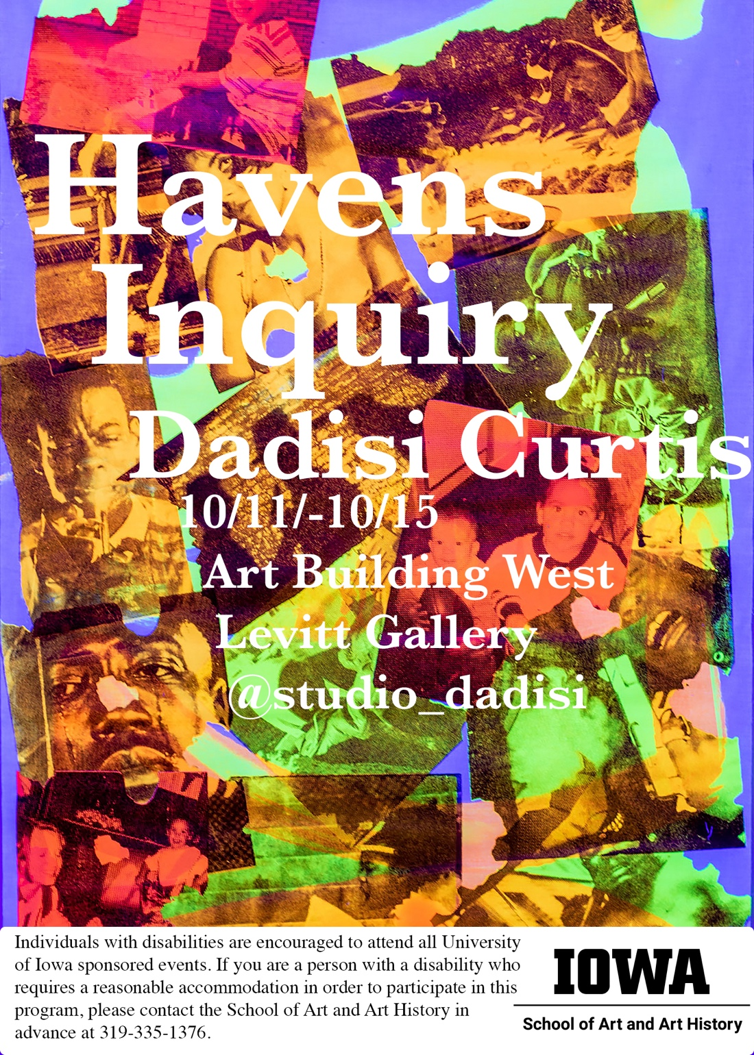 """Multi colored images on blue/purple background show card for Dadisi Curtis """"Havens Inquiry"""""""