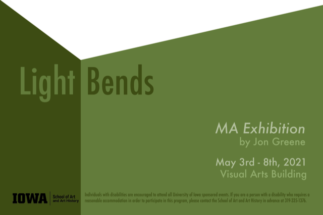 Shades of green geometric shapes Show card Light Bends by Jon Greene