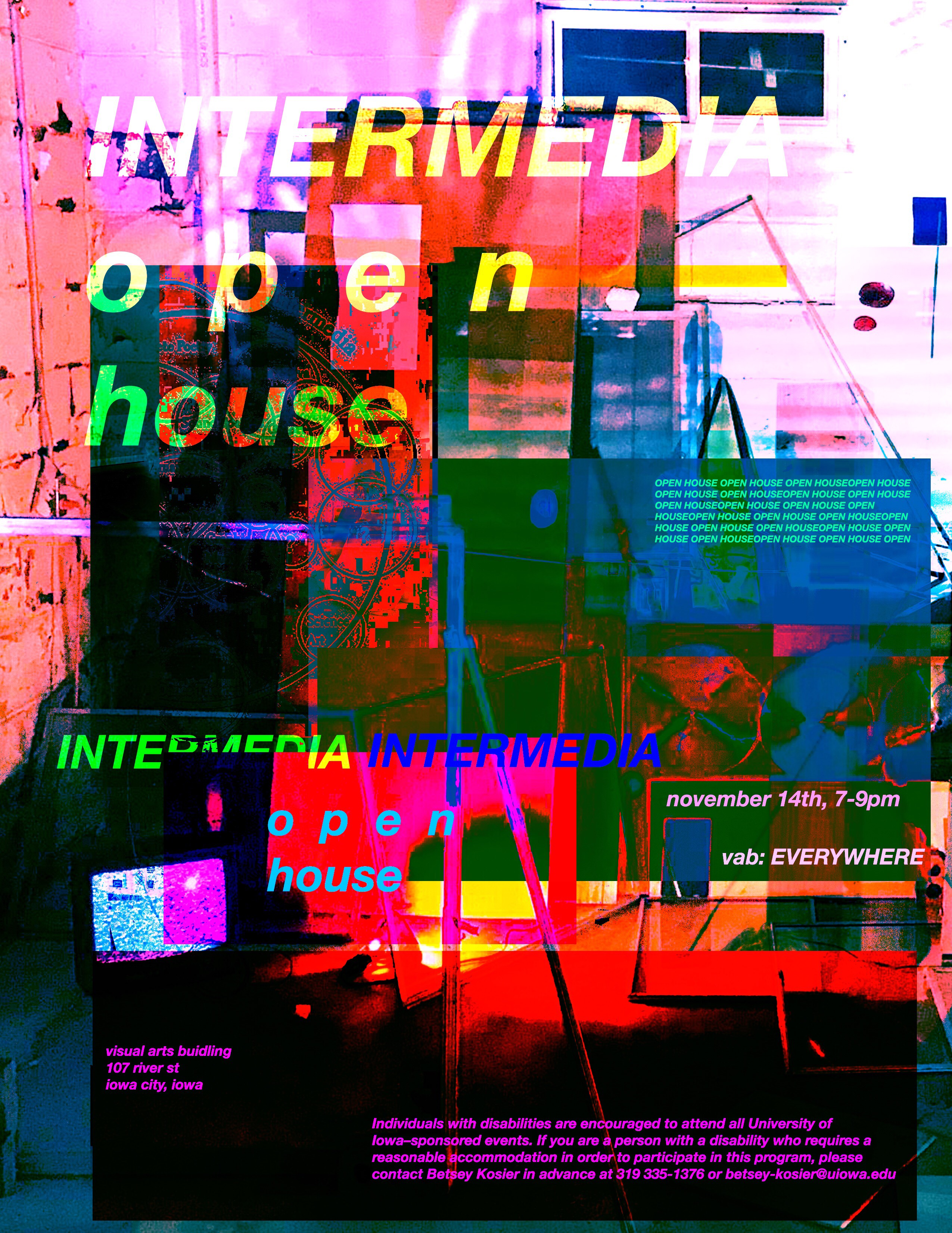 Flyer for Intermedia Open House November 14, 2019 7:00pm-9:00pm Visual Arts Building