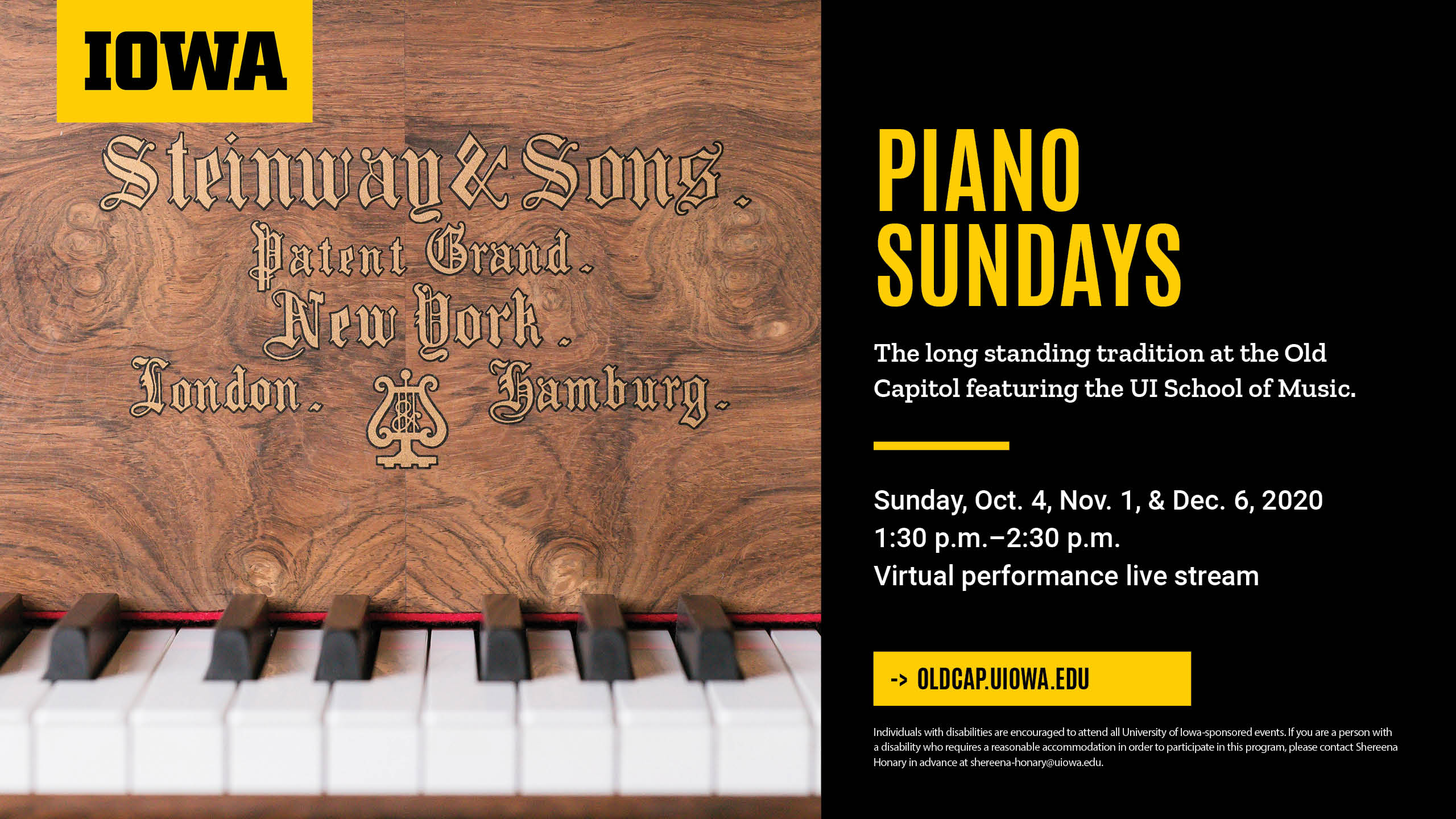 Piano Sundays UI branding digital screen signage