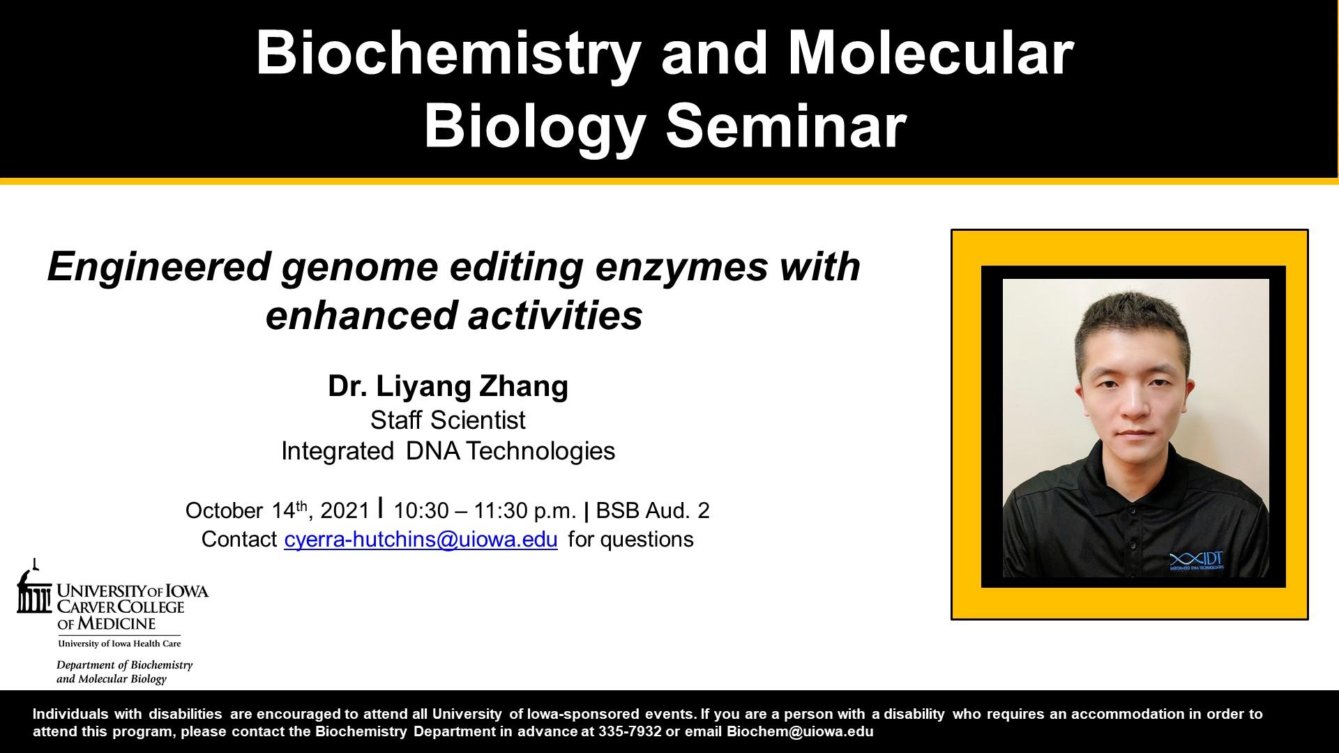 Biochemistry Seminar: Dr. Liyang Zhang promotional image